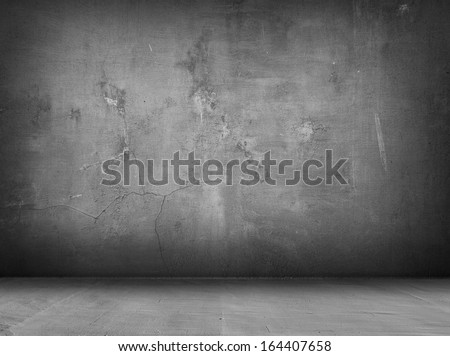 concrete grey wall and floor with shadows - stock photo