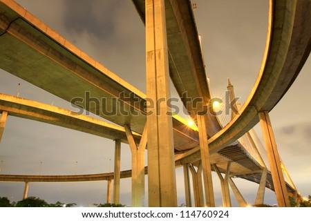 Concrete highway overpass - stock photo