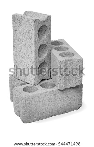Concrete hollow blocks construction on a white background
