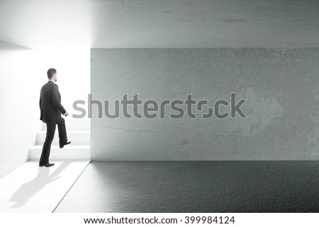 Concrete interior design with businessman and blank wall. Mock up, 3D Rendering - stock photo