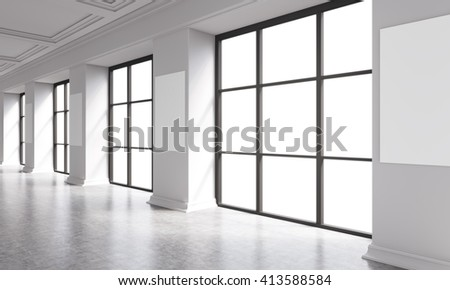 Concrete interior with windows and posters on columns. Mock up, 3D Rendering