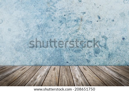 concrete interior with wooden floor - stock photo
