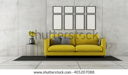 Concrete living room with yellow couch and blank frames on wall - 3d rendering - stock photo