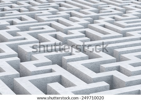 Concrete maze. 3d illustration