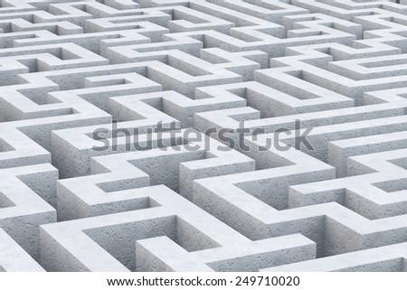 Concrete maze. 3d illustration - stock photo