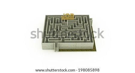 concrete maze with a huge job sign