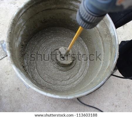 concrete mixing - stock photo