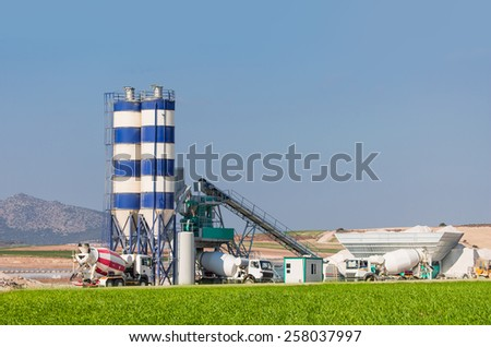 Concrete mixing plant stack for cement and sand