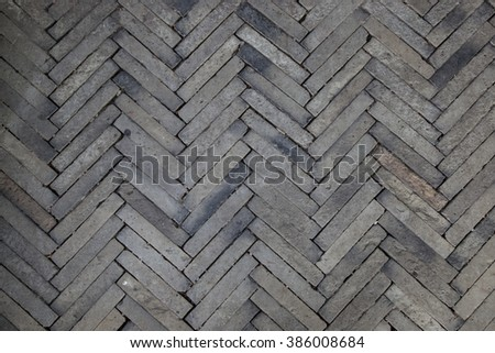 Concrete or cobble gray square pavement slabs or stones for floor - stock photo