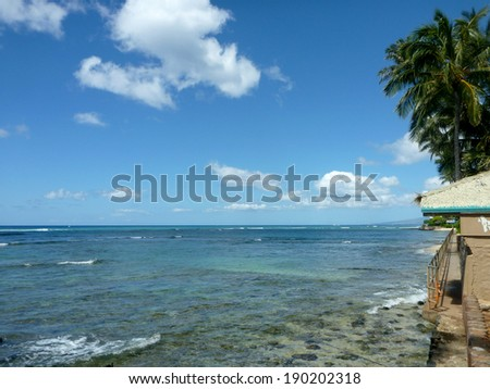 Concrete path with metal railing along cliff shore with coconut trees over head next to shallow ocean waters of Waikiki looking into the pacific ocean.  Taken at Leahi Beach Park on Oahu, Hawaii. - stock photo