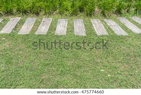 Concrete pathway on lawn in the park