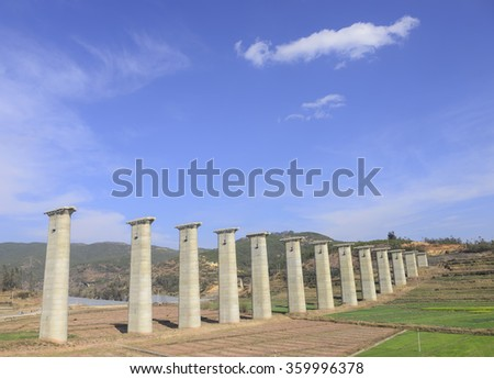 Concrete pier in construction site  - stock photo