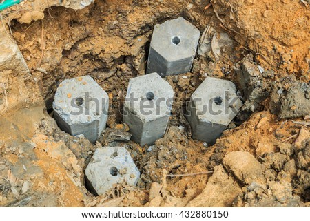 Concrete pile in pit ahchor pile