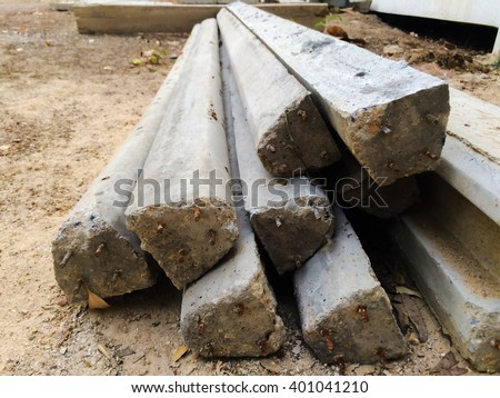concrete pillar pile - stock photo