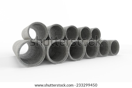 Concrete pipes isolated on white background - stock photo