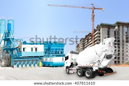 Concrete plant and A Cement Delivery Lorry at construction site - stock photo