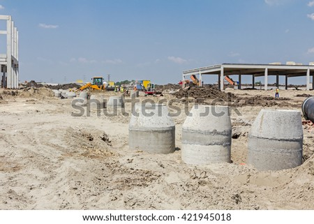 Concrete reinforcement pipe for drainage waste water from resident. - stock photo