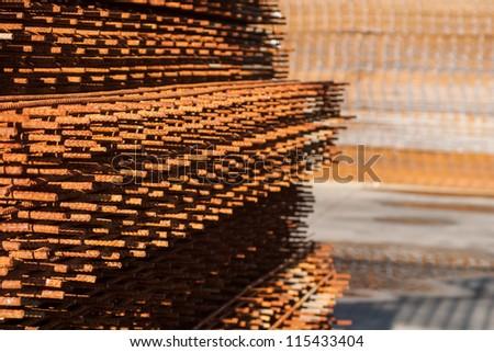concrete reinforcing mesh - stock photo