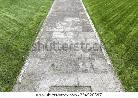 Concrete road in the grass, detail of a footpath, zen
