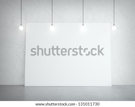 concrete room and white cardboard on wall - stock photo