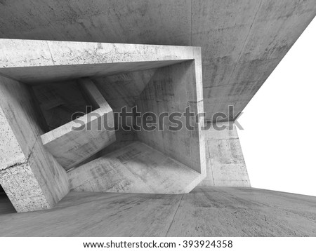 Concrete room interior with chaotic cubic structures and empty window. Abstract architecture background, 3d illustration - stock photo