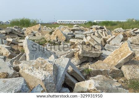 Concrete rubble debris in outdoor - stock photo