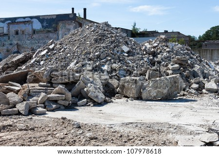 Concrete rubble debris on construction site - stock photo