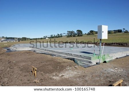 Concrete Slab Foundation for house build - stock photo