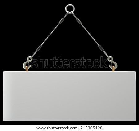Concrete slab on metal hanging rope slings. isolated on black background. 3d illustration  - stock photo