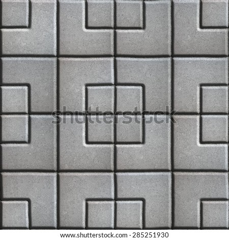 Concrete Slabs Paving Gray in the Form Square of Different Geometric Shapes. Seamless Tileable Texture.