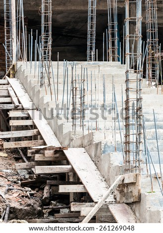 Concrete staircase in under construction of Thia temple. - stock photo