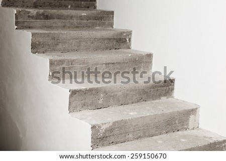 concrete staircase under construction - stock photo