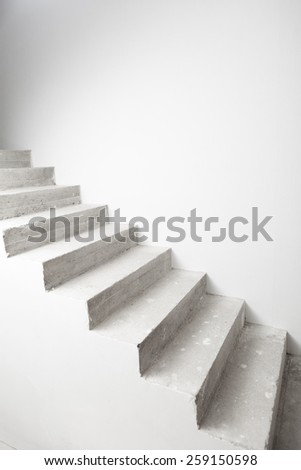 concrete staircase under construction with copy-space - stock photo
