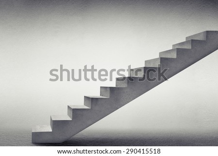 concrete stairs in grey empty room - stock photo