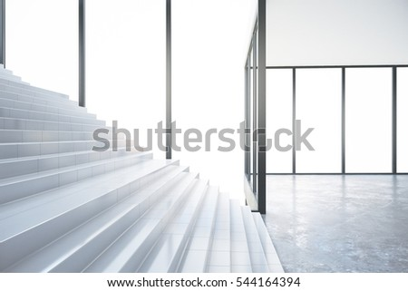 Concrete stairs in interior with no view. Success concept. Side view, 3D Rendering