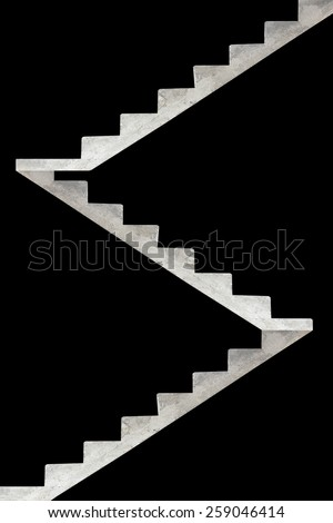 concrete stairway isolated on a black background - stock photo