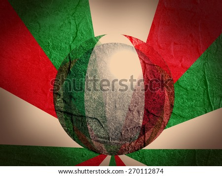 concrete textured wall and sphere textured by italy national flag - stock photo