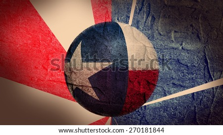 concrete textured wall and sphere textured by texas state flag - stock photo