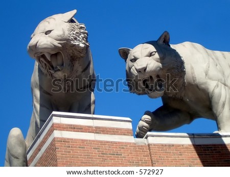 Concrete Tigers at Comerica Park in Detroit - stock photo