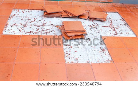 concrete tile pattern floor crack peel off - stock photo