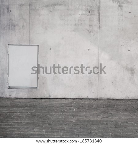 Concrete wall and brick floor texture with blank window - stock photo