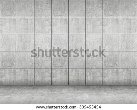 Concrete wall and floor. - stock photo