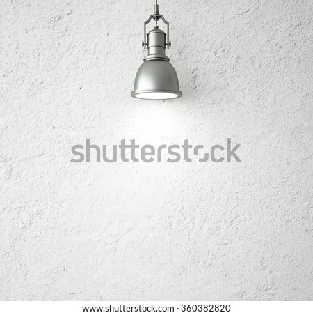 concrete wall and vintage ceiling lamp. 3d render - stock photo