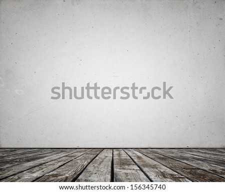 concrete wall and wood floor