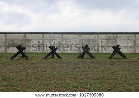 Concrete wall  at inner german wall with tank traps