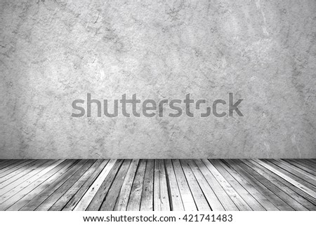 Concrete wall backdrop with wooden floor, 3d illustration.