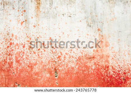 Concrete wall with blood splatters  - stock photo