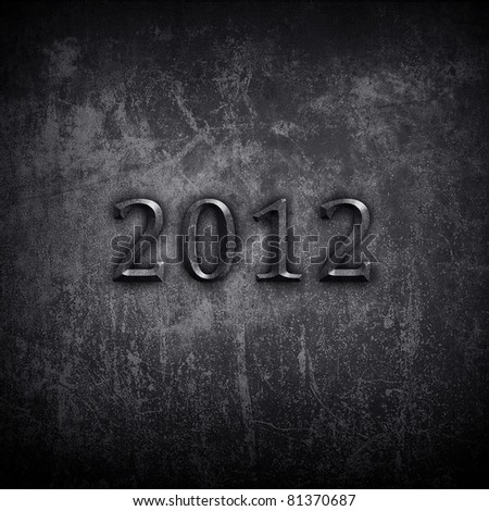 """concrete wall with """"2012"""" carving - stock photo"""