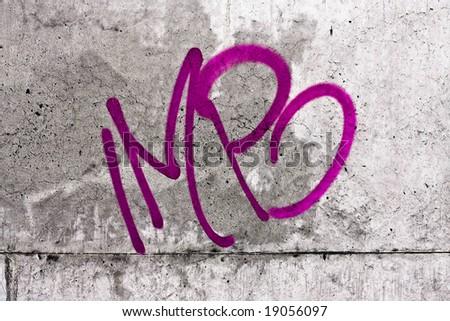 concrete wall with graffiti - stock photo