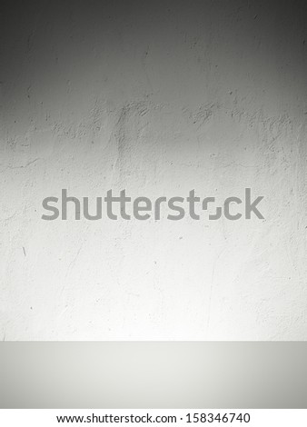 concrete wall with shelf - stock photo